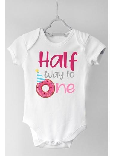 Happy Onesie Co Half Way One Kız Çıtçıtlı Bebek Body Beyaz